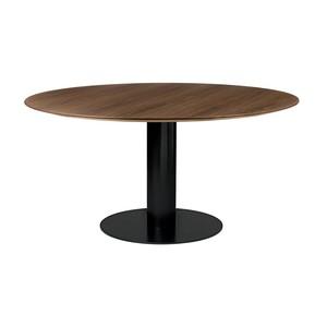 Gubi - 2.0 Dining Table Tisch Gestell Schwarz Ø150cm - Walnuss/Tischplatte Walnuss/H 72cm, Ø150cm/Gestell schwarz