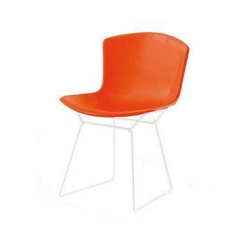 Knoll International - Bertoia Plastic Side Chair Stuhl weiß - orange rot/Polypropylen/Gestell weiß