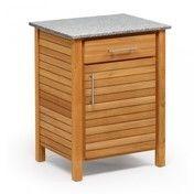 Weishäupl - Deck Outdoorküche 1er-Element Anschlag links - teak/Granitplatte grau/weiß/Teak/Rückwand: Metall/1 Schub/1 Fachboden