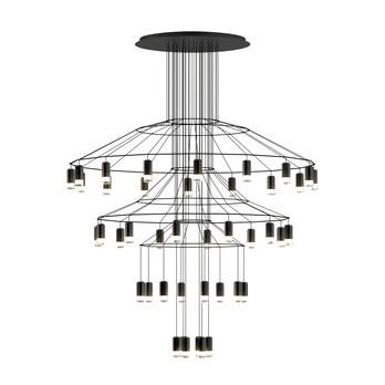 Vibia - Wireflow Chandelier 0377 LED-Pendelleuchte - schwarz RAL 9005/lackiert/2700K/20591 lm/DALI 1-10V PUSH/CRI >80/50-60Hz/H 194cm/Ø 150cm