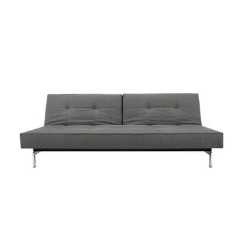 Innovation Splitback Sofa Bed Chrome Grey Fabric 216