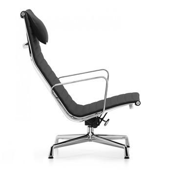 Vitra - EA 124 Aluminium Chair Drehsessel - Stoff schwarz Hopsak 66/Gestell aluminium poliert/mit Filzgleitern