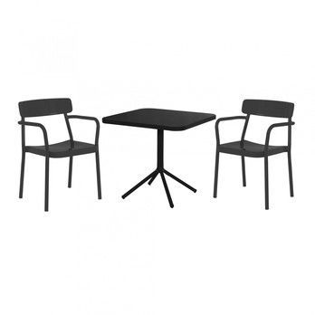 emu - Grace Gartenset - schwarz/matt/2 Armlehnstühle/1 Bistrotisch 80x80x74cm