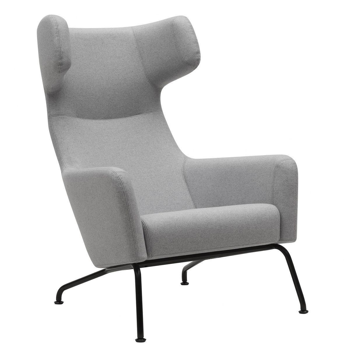 Softline havana fauteuil clair gris étoffe feutre 620 piètement noir