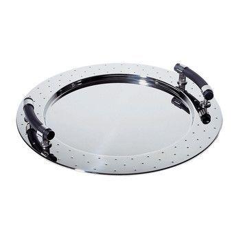 Alessi - MGVASS Tablett mit Griffen - schwarz/glänzend/Ø 48cm