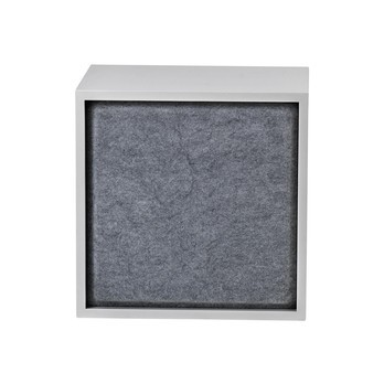 Muuto - Muuto Stacked Akustikplatte M - grau/Stoff Grey Melange/Nur Akustikplatte OHNE Modul/Ein Modul mit Rückwand wird benötigt