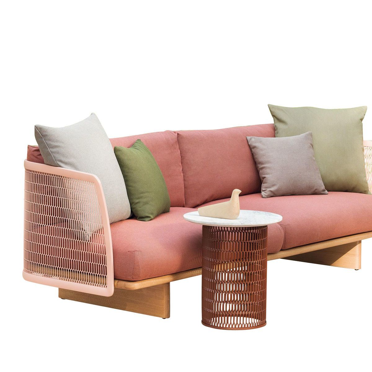 Kettal   Mesh Outdoor Sofa 264x76x91cm   Light Pink/cushion Of Fabric Ash  Rose Laminate