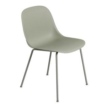 Muuto - Fiber Chair Stuhl mit Rohrgestell - staubgrün/Sitzfläche Holzfaser/Kunststoff-Ver/BxHxT 51x77x53cm/Gestell Stahl pulverbeschichtet