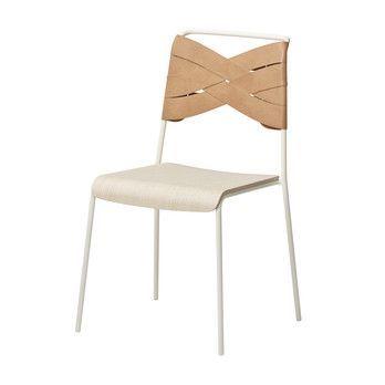 DesignHouseStockholm - Torso Stuhl - natur/Esche/Gestell weiß pulverbeschichtet/52x83x47cm
