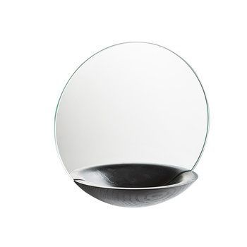 Woud - Pocket Spiegel Ø26cm - schwarz/lackiert
