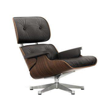 Vitra - Eames Lounge Chair Drehsessel - Leder Premium brown braun/Schale walnuss schwarz pigm./Gestell poliert