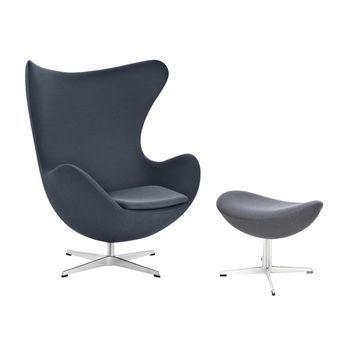 Fritz Hansen - Aktion Egg Chair/Das Ei Sessel + Fußhocker Stoff - anthrazit/Gestell Aluminium/Stoff Fame 60019/Fußhocker: LxBxH 56x40x37cm/Fußhocker geschenkt!