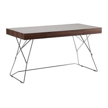 Zanotta - Maestrale Schreibtisch - dunkelbraun/Kernleder pigmentato 90/Gestell Stahl schwarz vernickelt glänzend/134x74x68cm
