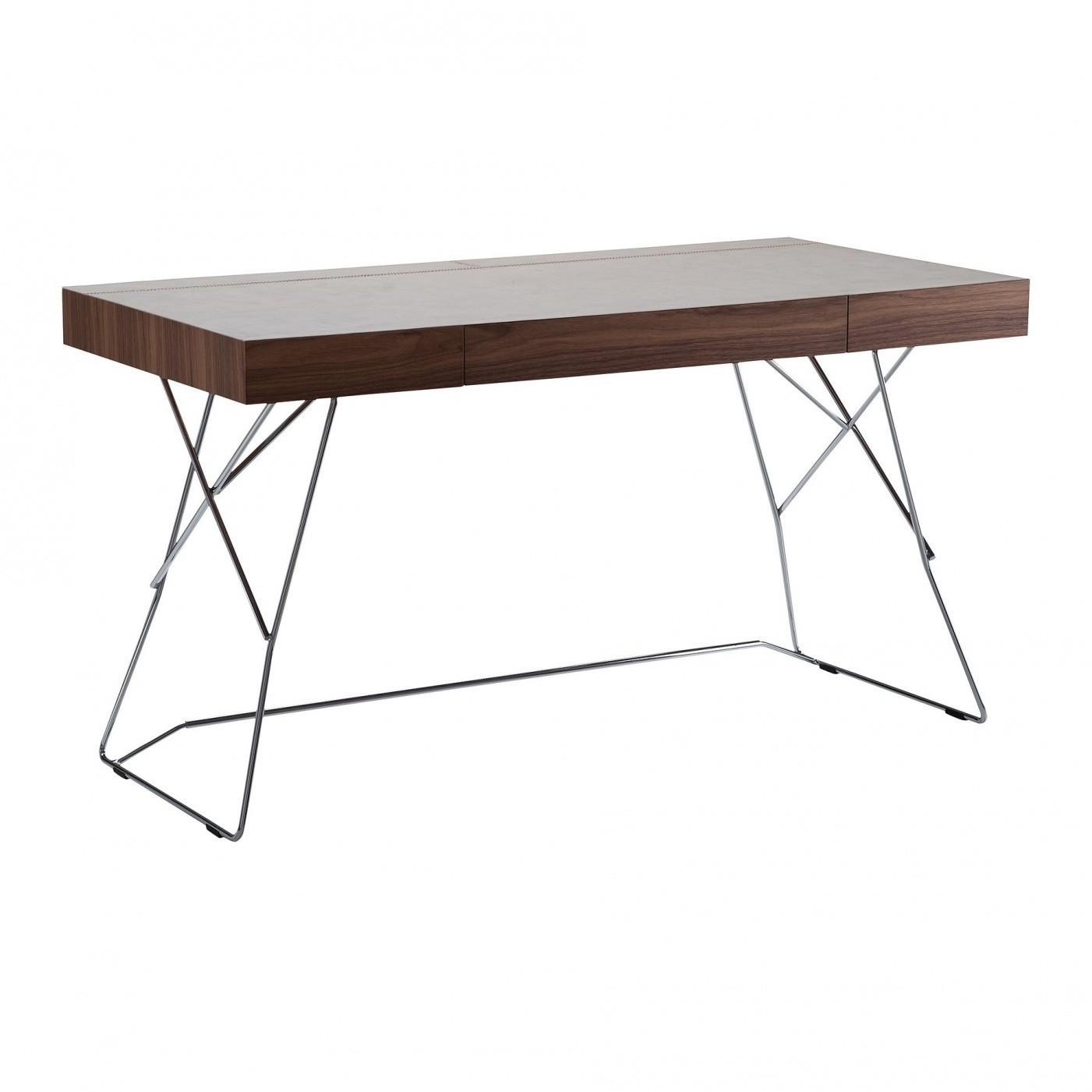 Zanotta Maestrale Writing Desk Dark Brown Cowhide Pigmentato