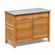 Weishäupl - Deck Outdoorküche 2er-Element - teak/Granitplatte grau/weiß/Rückwand: Metall/2 Schübe/1 Fachboden