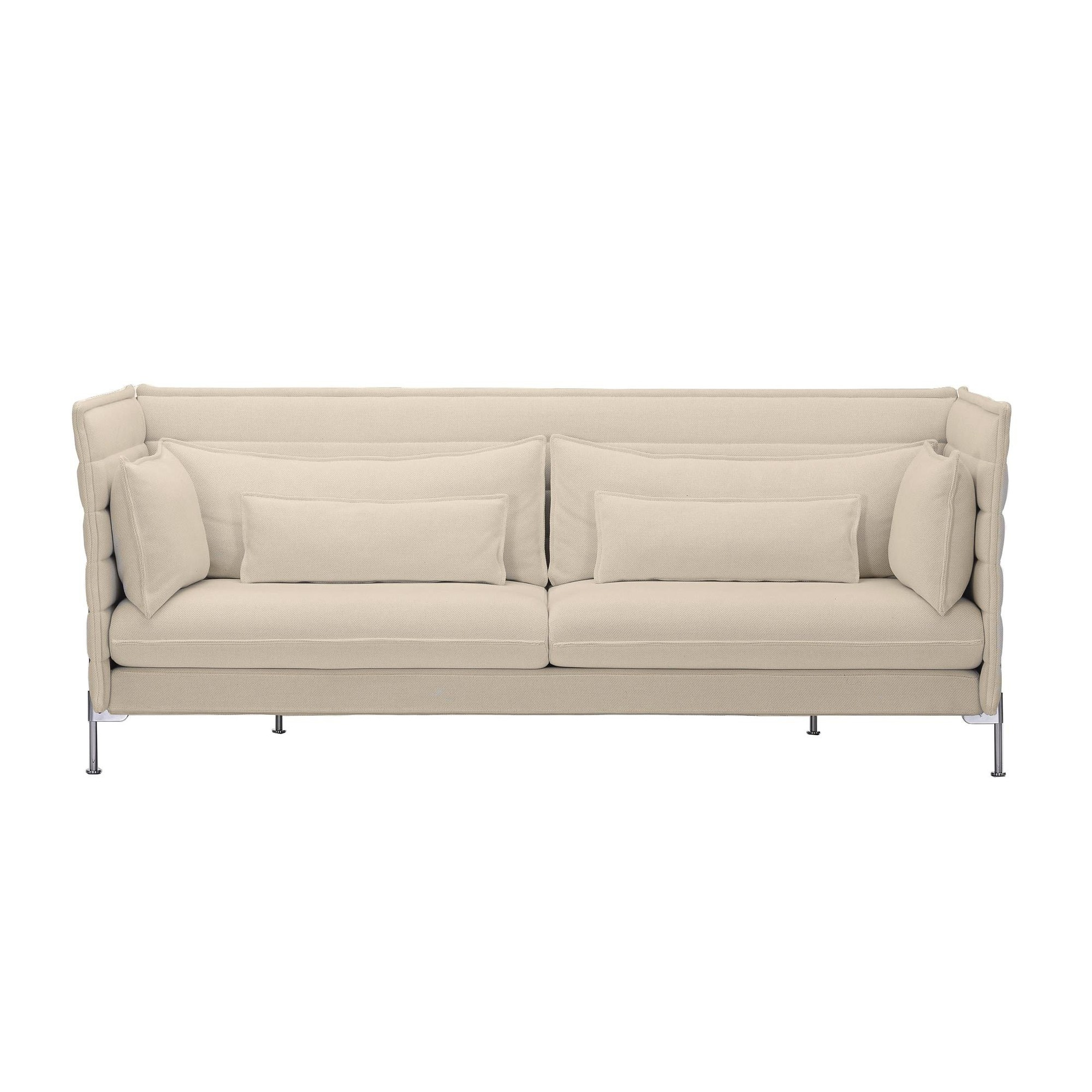 Vitra Alcove Bouroullec 3 Seater Sofa Ivory Frame Chrome Fabric Laser