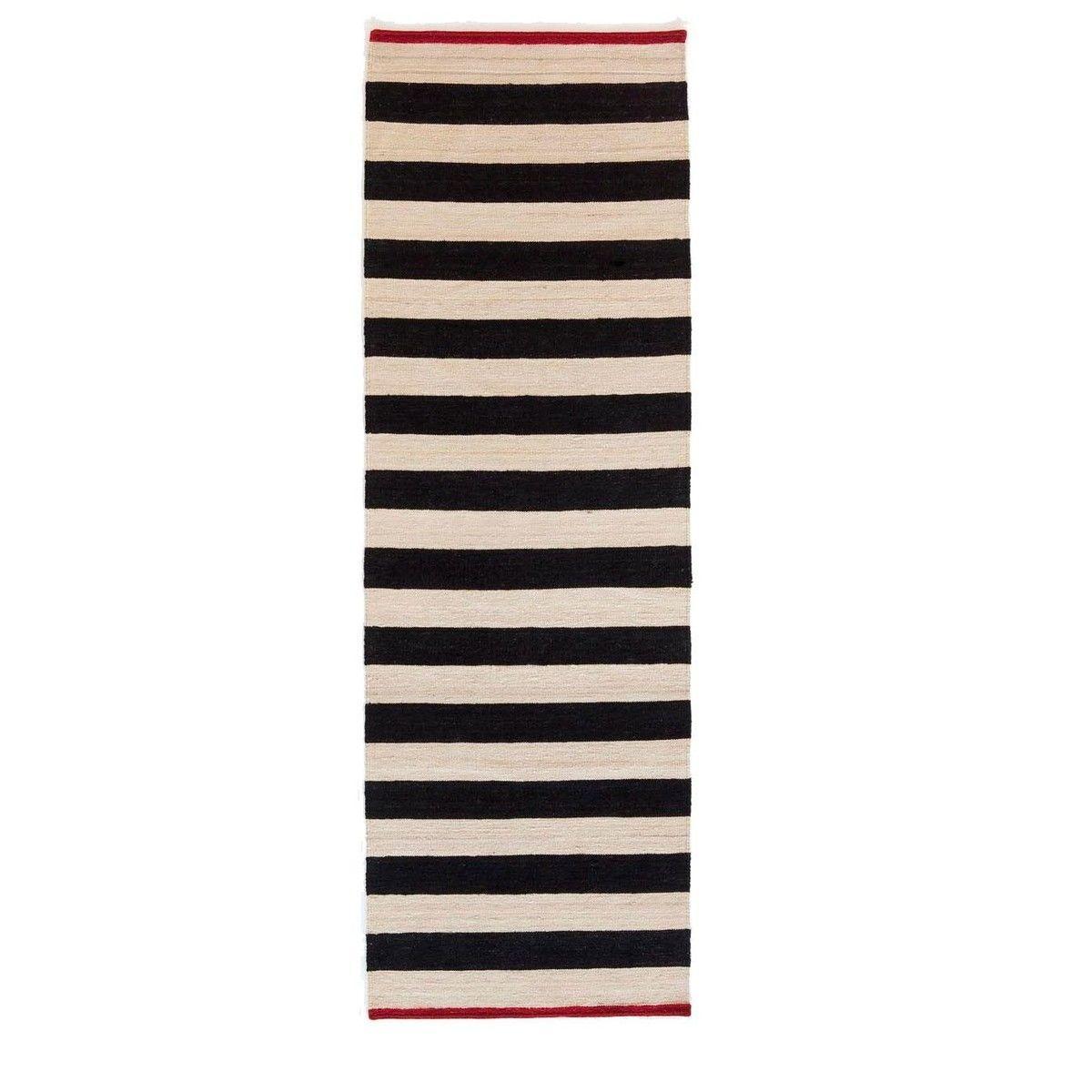 Teppich läufer schwarz weiß  Mélange Stripes 2 Kilim Wollteppich / Läufer | Nanimarquina ...