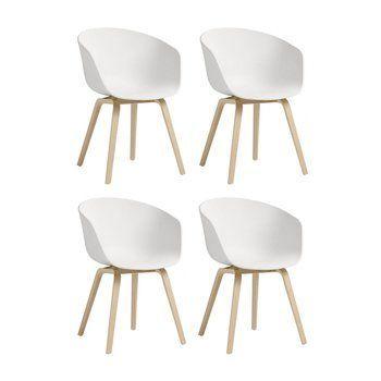 HAY - HAY About a Chair 22 Armlehnstuhl 4er Set - weiß/Gestell Eiche geseift/59x79x52cm
