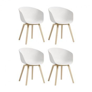 - HAY About a Chair 22 Armlehnstuhl 4er Set - weiß/Gestell Eiche geseift/59x79x52cm
