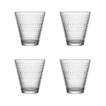 iittala - Kastehelmi Weihnachtsgeschenk Set 4tlg. - transparent/in grauer Zinnbox/4 x Kastehelmi Glas 30cl