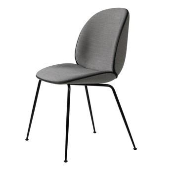 Gubi - Beetle Chair mit Stoff und Gestell schwarz - grau Stoff Remix 143/Biese in Leder schwarz/Gestell schwarz