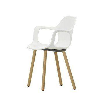 Vitra - Hal Armchair Wood Armlehnstuhl - weiß/Gestell Eiche natur/mit Filzgleitern