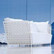 Gervasoni - InOut 803 Outdoor-Sofa 224x81cm - weiß/Sitzpolster: Stoff Gesso/Gestell weiß/inkl. 2 Kissen aus Dacron/Kissen 60x60 cm: Stoff Gesso