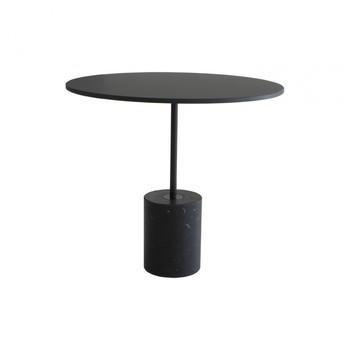 la palma - Jey Beistelltisch H: 45cm  - schwarz/Tischplatte Fenix/h 45cm / Ø 50cm/Gestell Marquinia-Marmor