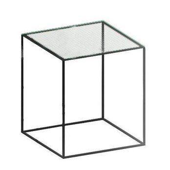 Zeus - Slim Irony Beistelltisch Glas 41x41cm - Drahtglas/Gestell kupferschwarz/L x B x H: 41 x 41 x 46cm