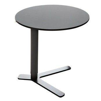 la palma - Yo Beistelltisch - schwarz/HPL Fenix schwarz/Fuß Ø50/höhenverstellbar von 52-70cm
