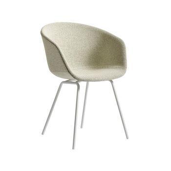 - About a Chair 27 Armlehnstuhl gepolstert - beige/Stoff Steelcut Trio 2 213/Gestell weiß
