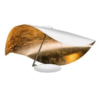 Catellani & Smith - Lederam Manta CWS1 LED Decken-/Wandleuchte - weiß/gold/2700K/1590lm/CRI80/60cm/Stange satin/ Scheibe weiß