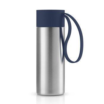 Eva Solo - Eva Solo To Go Cup Thermosflasche - marineblau/edelstahl/1 Trageschlaufe/H 20cm/Ø 6.5cm/0.35 L