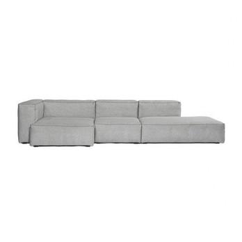 HAY - Mags Soft Lounge Sofa Armlehne links - hellgrau/Beine schwarz/Stoff Divina Melange 120/Naht schwarz/324x154x67cm