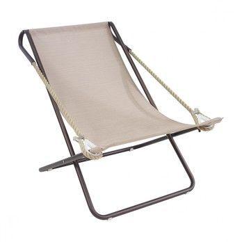 - Vetta Liegestuhl - dunkelbraun/hellbraun/Sitzfläche: Emu-Tex/Armlehne: synthetisches Seil/klappbar/LxBxH 110x78x90cm