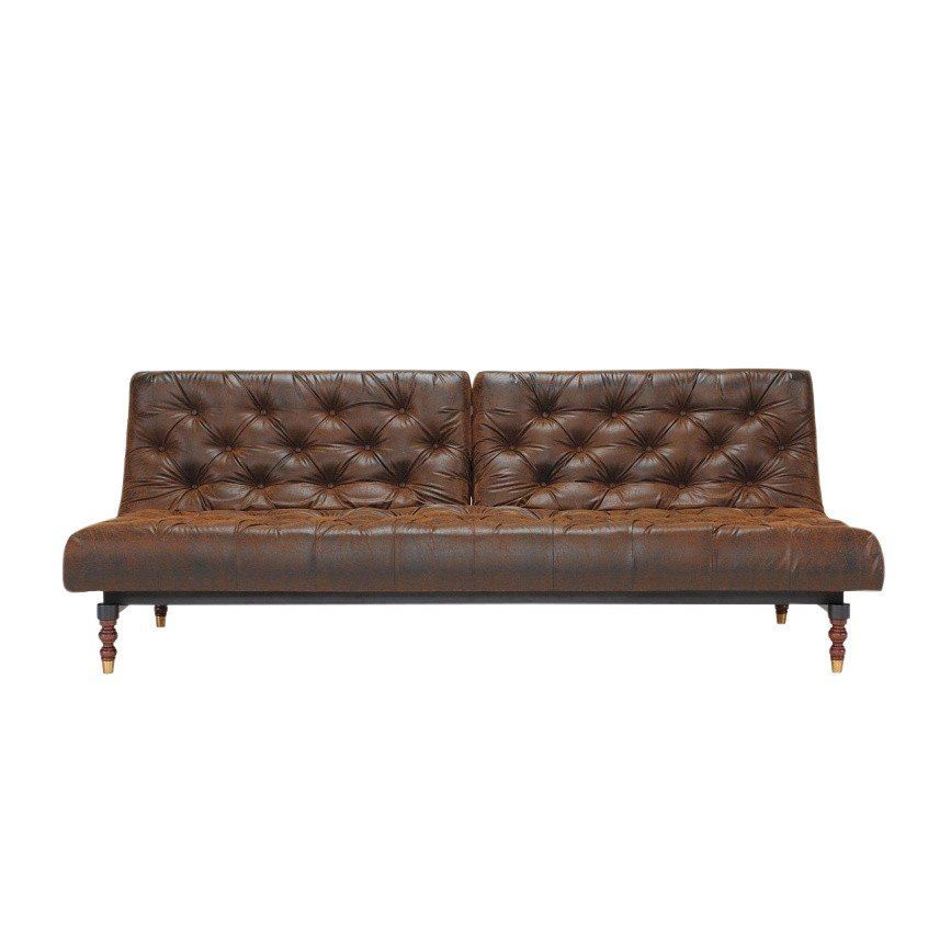 Innovation Oldschool Retro Sofa Bed Vintage Brown Faux Leather 461