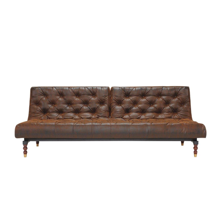 Merveilleux Innovation   Oldschool Retro Sofa Bed   Vintage Brown/faux Leather 461  Brown Vintage