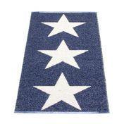 pappelina - Viggo Star Teppich 70x150cm - blau metallic/vanille