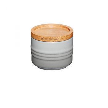 Le Creuset - Le Creuset Zuckerdose mit Holzdeckel - grau