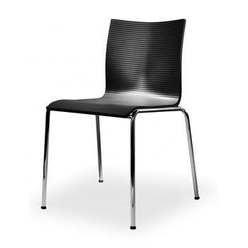 - Chairik XL121 Stuhl - schwarz/PUR Integralschaum/Gestell: 16 mm Rohr blankverchromt/55x58x79cm