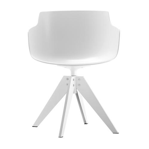 MDF Italia - Flow Slim Armlehnstuhl New Edition Gestell Stahl - weiß/Gestell Stahl matt weiß