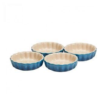 Le Creuset - Le Creuset Tarte Form 4er Set - blau marseille/glänzend/Auch für Mikrowelle & Gefrierschrank geeignet/backofengeeignet