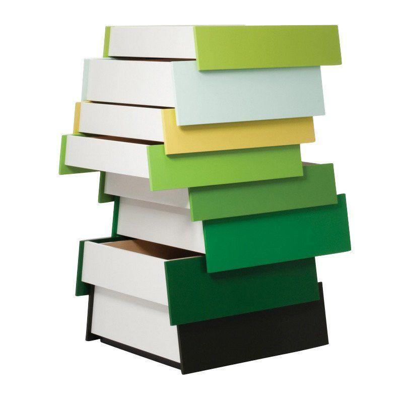 Established U0026 Sons   Stack Commode   Green/8 Drawers