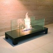 Radius - Floor Flame Kaminfeuer - schwarz, transparent/Edelstahl schwarz