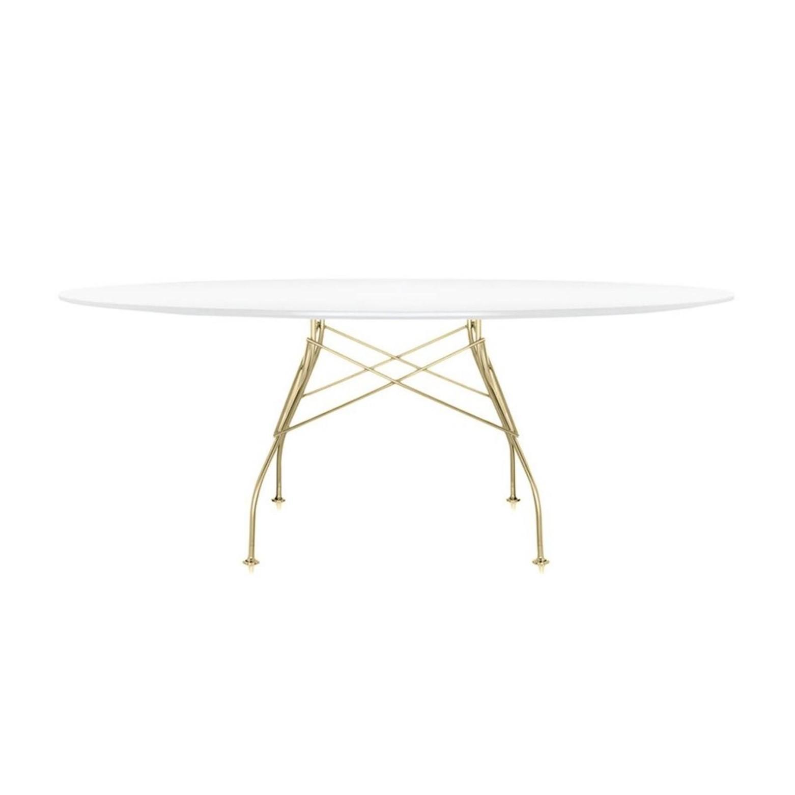Esstisch oval weiß  Glossy Tisch Oval Gestell Gold