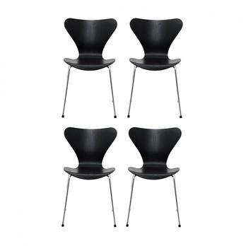 Fritz Hansen - Serie 7 Stuhl 4er Set - Esche schwarz/lasiert/Gestell chrom/Maserung voll erkennbar/BxHxT 50x82x52cm