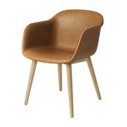 Muuto - Fiber Armchair upholstered with wood base