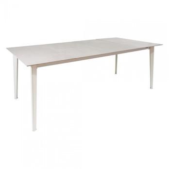 emu - Kira Esstisch rechteckig Outdoor - weiß/fokos rena/Tischpaktte Feinsteinzeug/LxBxH 180x100x74cm/Gestell aluminium weiß