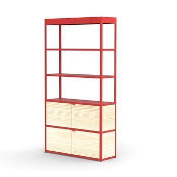 HAY - New Order Regal/Schrank 100x185.5cm - rot/esche/lackiert/mit 2 Holztüren/4 Seitenwände, 2 Rückwände