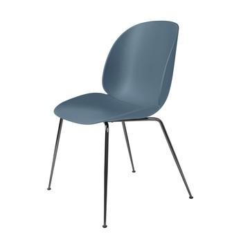 Gubi - Beetle Dining Chair Stuhl Gestell Chrom - blau grau/Sitz Polypropylen-Kunststoff/BxHxT 56x87x58cm/Gestell Schwarzes Chrom